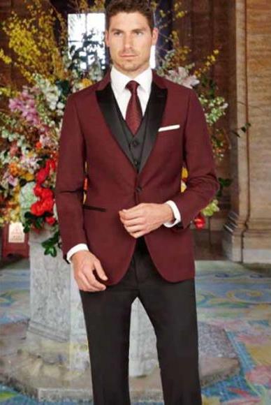 Men's Peak Lapel Slim Fit 1 Button Satin Vest Arlan Tuxedo Black Pant