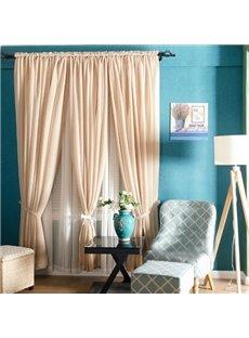 Concise Elegant Solid Beige One Panels Custom Sheer Curtain