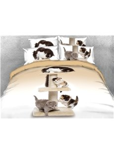 Playing Cats Printed Cotton 4-Piece 3D Bedding Sets/Duvet Covers
