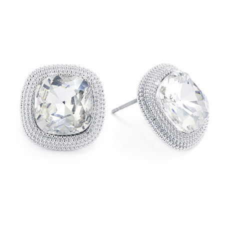 Sparkle Allure Crystal Pure Silver Over Brass 14.8mm Square Stud Earrings, One Size , No Color Family