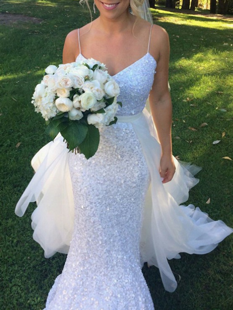 Ericdress Watteau Train Mermaid Sequins Wedding Dress