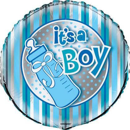 Baby Shower Foil Balloon Round It's A Boy Bottle 18