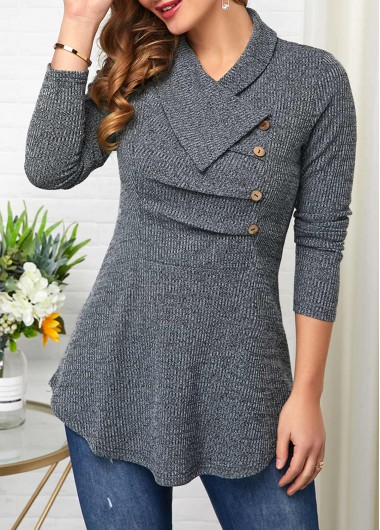 Women'S Grey Long Sleeve Turndown Collar Sweatshirt Solid Color Button Detail Pullover Casual Top By Rosewe - 12