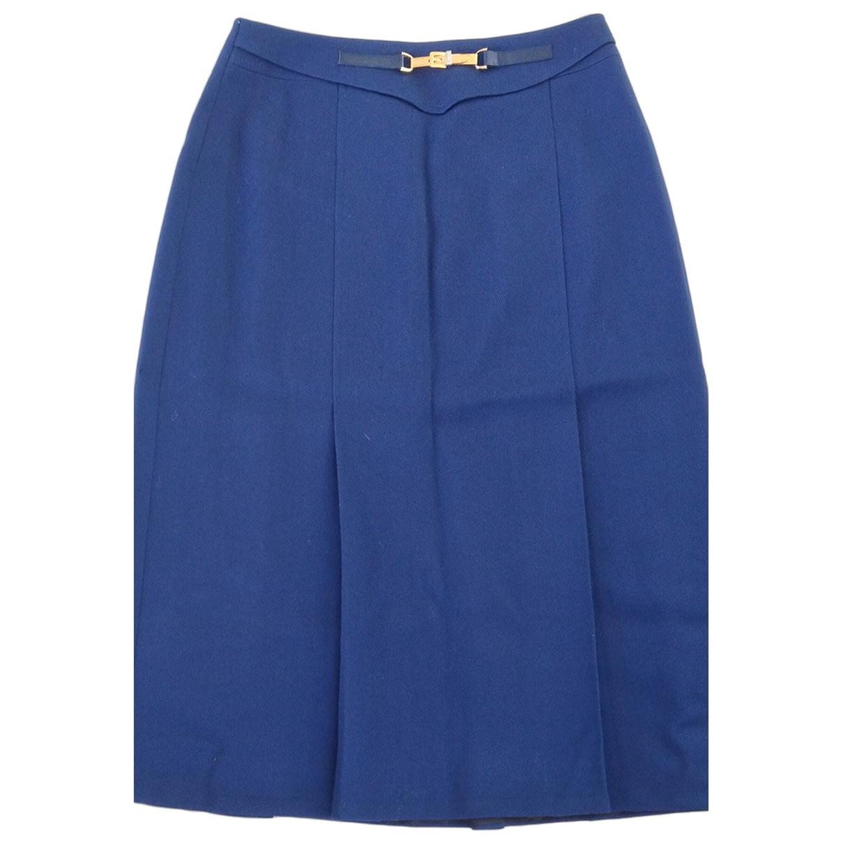 Celine \N Blue Leather skirt for Women 40 FR