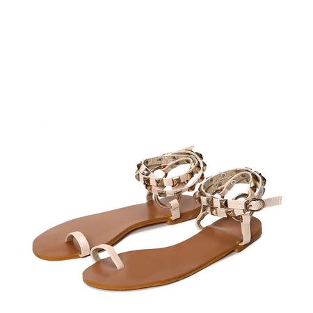 Yoins Apricot Ring Toe Rivet Embellished Sandals