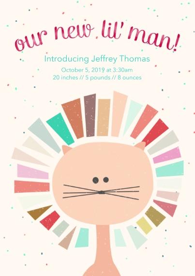 Newborn 5x7 Cards, Premium Cardstock 120lb, Card & Stationery -Little Lion Baby Announcement Boy
