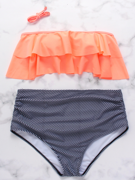 Yoins Orange Halter Ruffle Overlay High Waist Stripe Bikini Set