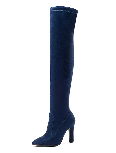 Milanoo Thigh High Boots Womens Elastic Fabric Pointed Toe Chunky Heel Over The Knee Boots