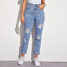 Solid Ripped 5-pocket Carrot Jeans