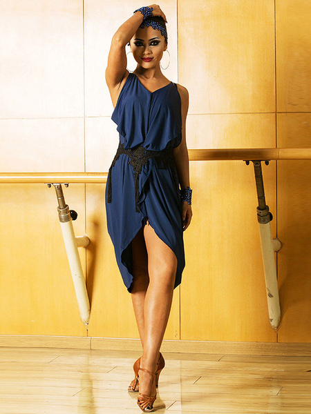 Milanoo Dance Costumes Latin Dancer Dresses Deep Blue Women Side Draping Dancing Wears Outfits Halloween