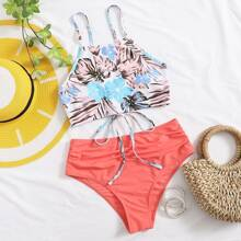 Tropical Lace-up High Waist Bikini Swimsuit