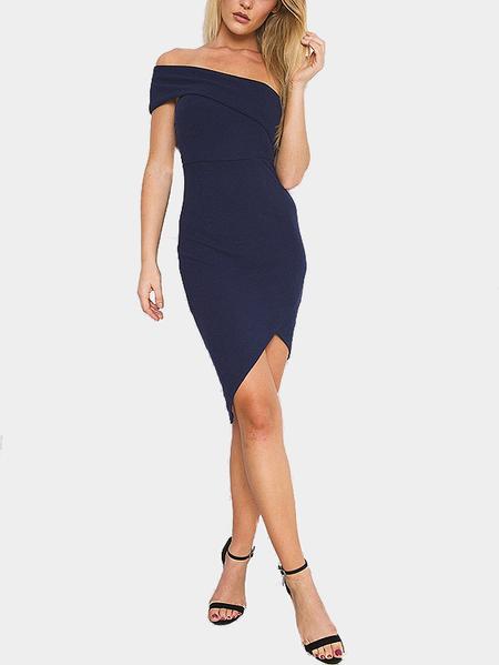 Yoins One Shoulder Irregular Hem Bodycon Mini Dress