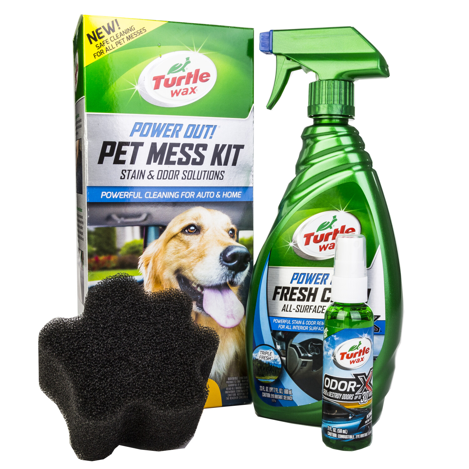 Turtle Wax Power Out! Pet Mess Kit Powerful Cleaning for Auto, Truck and Home - Green