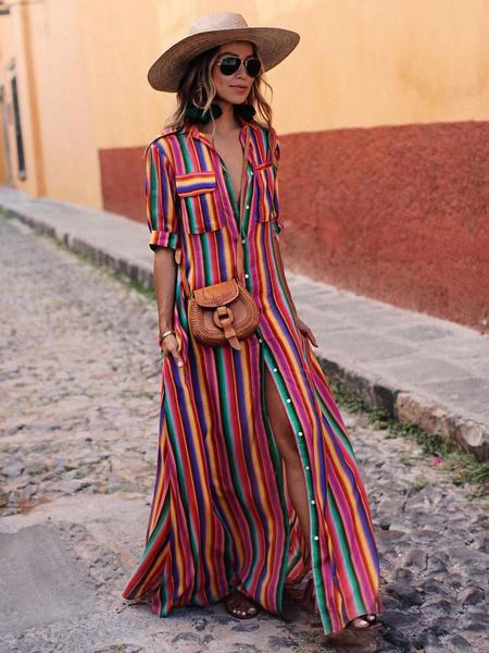 Milanoo Rainbow Stripe Shirt Dress Button Down Maxi Dress Colorful Half Sleeve Pockets Sundress