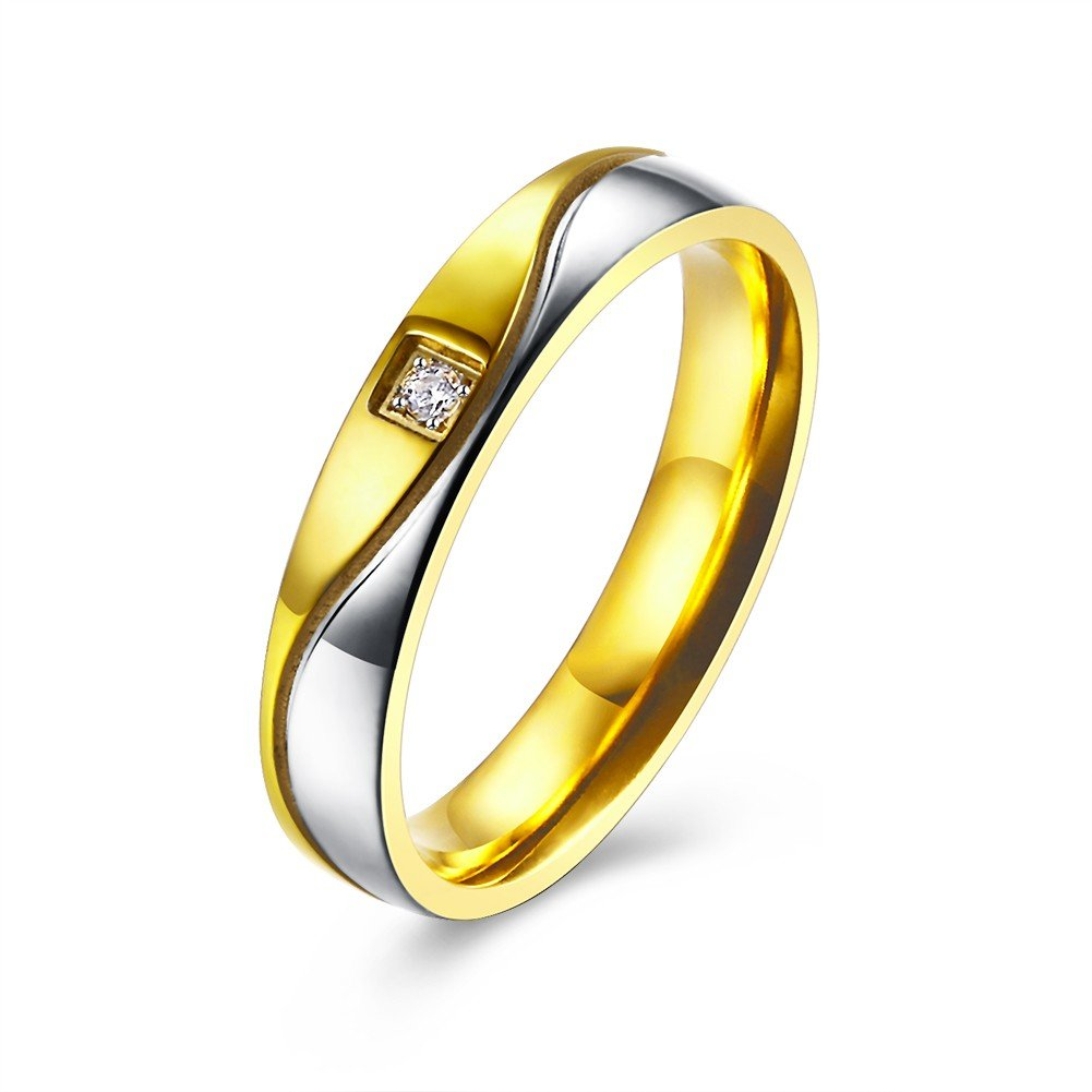 Sweet Couple Ring Zircon Silver Gold Ring for Women Men