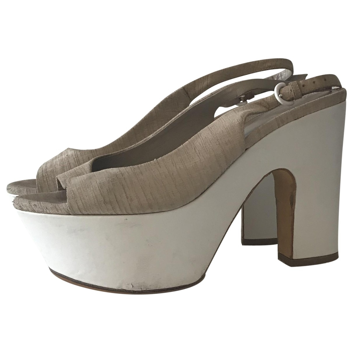 Sergio Rossi \N Beige Leather Sandals for Women 37 EU