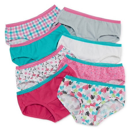 Hanes Big Girls 8 Pack Hipster Panty, 12 , Multiple Colors