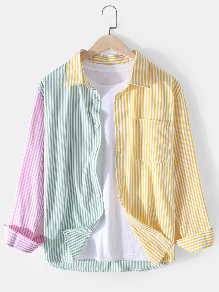 Mens Colorblock Striped Cotton Lapel Designer Long Sleeve Shirts