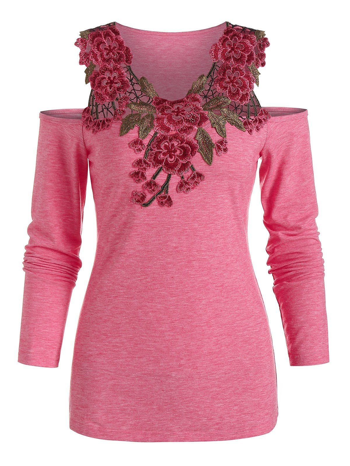 Cold Shoulder Flower Lace Insert Heathered T-shirt