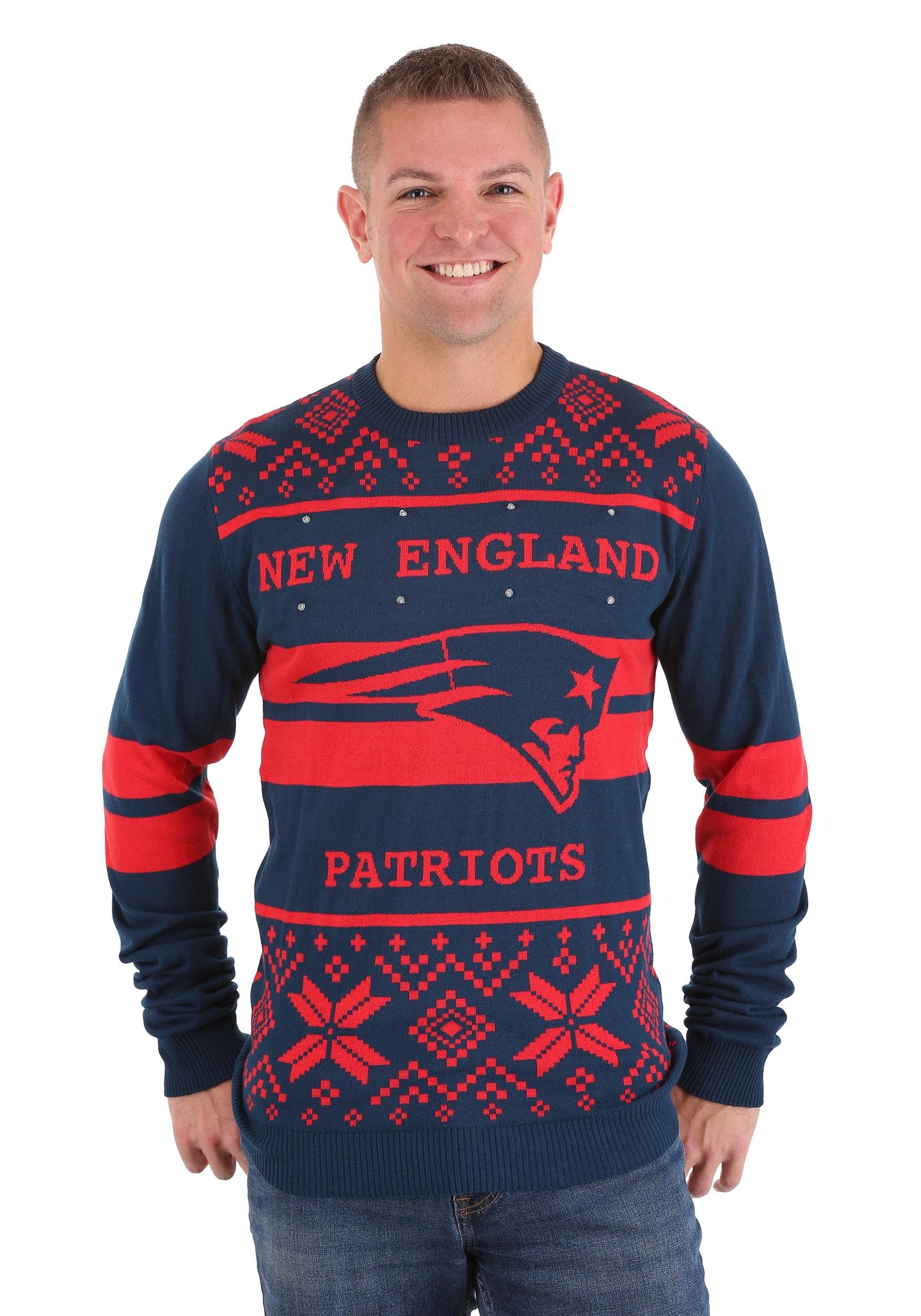 New England Patriots Two Stripe Big Logo Light Up Sweater