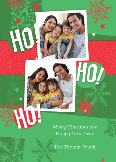 Christmas Photo Cards 5x7 Cards, Premium Cardstock 120lb, Card & Stationery -Ho! Ho! Ho! Green Snowflake