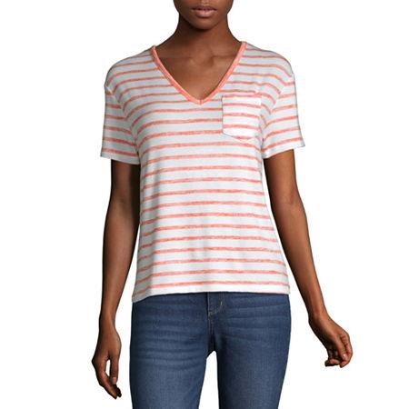 a.n.a-Womens V Neck Short Sleeve T-Shirt, X-small , Orange