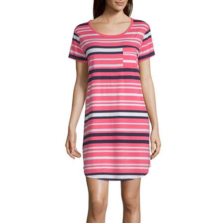 Liz Claiborne Womens Short Sleeve Round Neck Nightshirt, Small , Pink