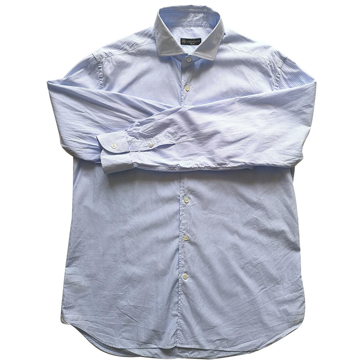 Corneliani \N Blue Cotton Shirts for Men 17 UK - US (tour de cou / collar)