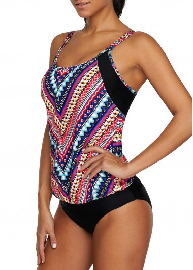 Double Strap Printed Tankini Top and Black Panty - L