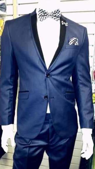Shiny Light Navy/ Dark Royal Blue Tuxedo 2 Button Black Lapel Suit