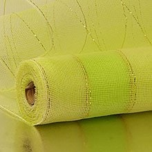 21X10 Yards Ivory/Lime 2-Clrd Wide Strp Deco Mesh Polypropylene / Cellophane - Wraps Width: 21 Length: 10 yd by Paper Mart
