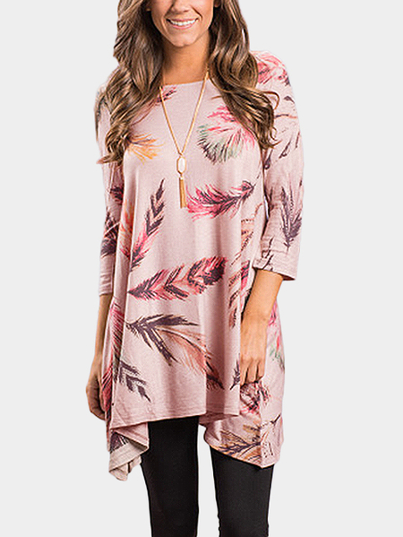 Yoins Pink Random Feather Print Round Neck 3/4 Length Sleeves Dress