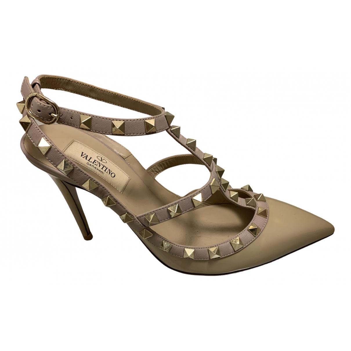 Valentino Garavani Rockstud Beige Patent leather Heels for Women 38 EU