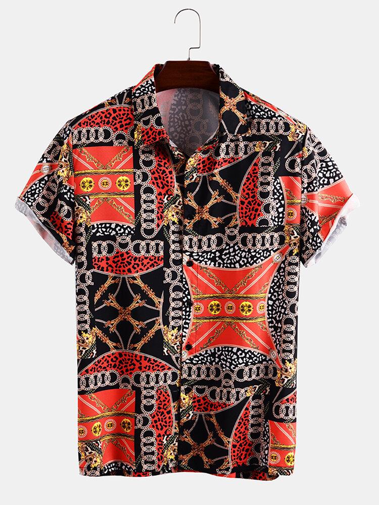 Mens Allover Print Short Sleeve Light Buttons Shirts