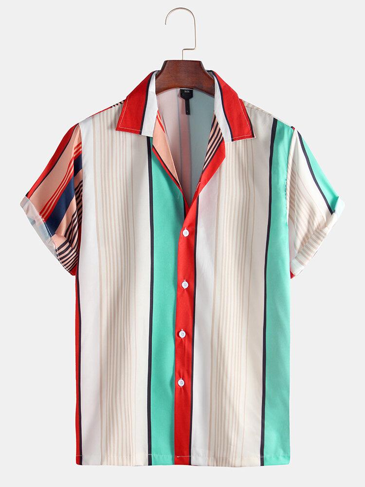 Men Striped Printed Holiday Casual Short Sleeve Shirt