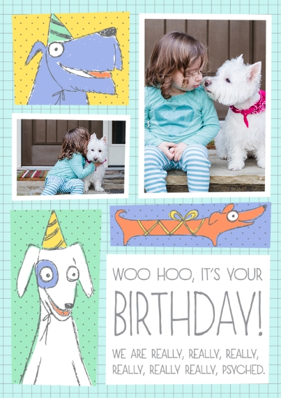 Kids Birthday Party Invites Flat Glossy Photo Paper Cards with Envelopes, 5x7, Card & Stationery -Top Dogs