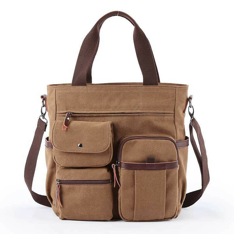 Men Canvas Large Capacity Multi-slot Crossbody Bag Business Computer Handbag