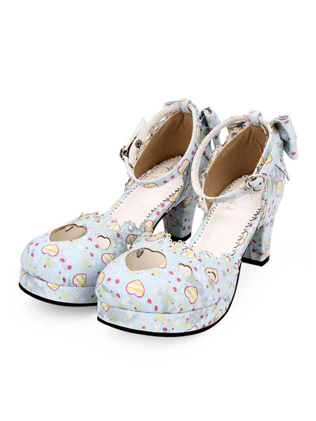 Milanoo Sweet Lolita Pumps Sweetheart Cut Out Print Bow Ankle Strap Chunky Heel Lolita Shoes