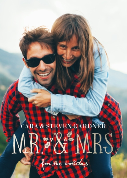 Christmas Photo Cards 5x7 Cards, Premium Cardstock 120lb with Scalloped Corners, Card & Stationery -Mr & Mrs Holiday