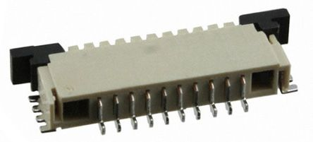 TE Connectivity FPC 1mm Pitch 10 Way Right Angle SMT Female FPC Connector, ZIF Top Contact (10)
