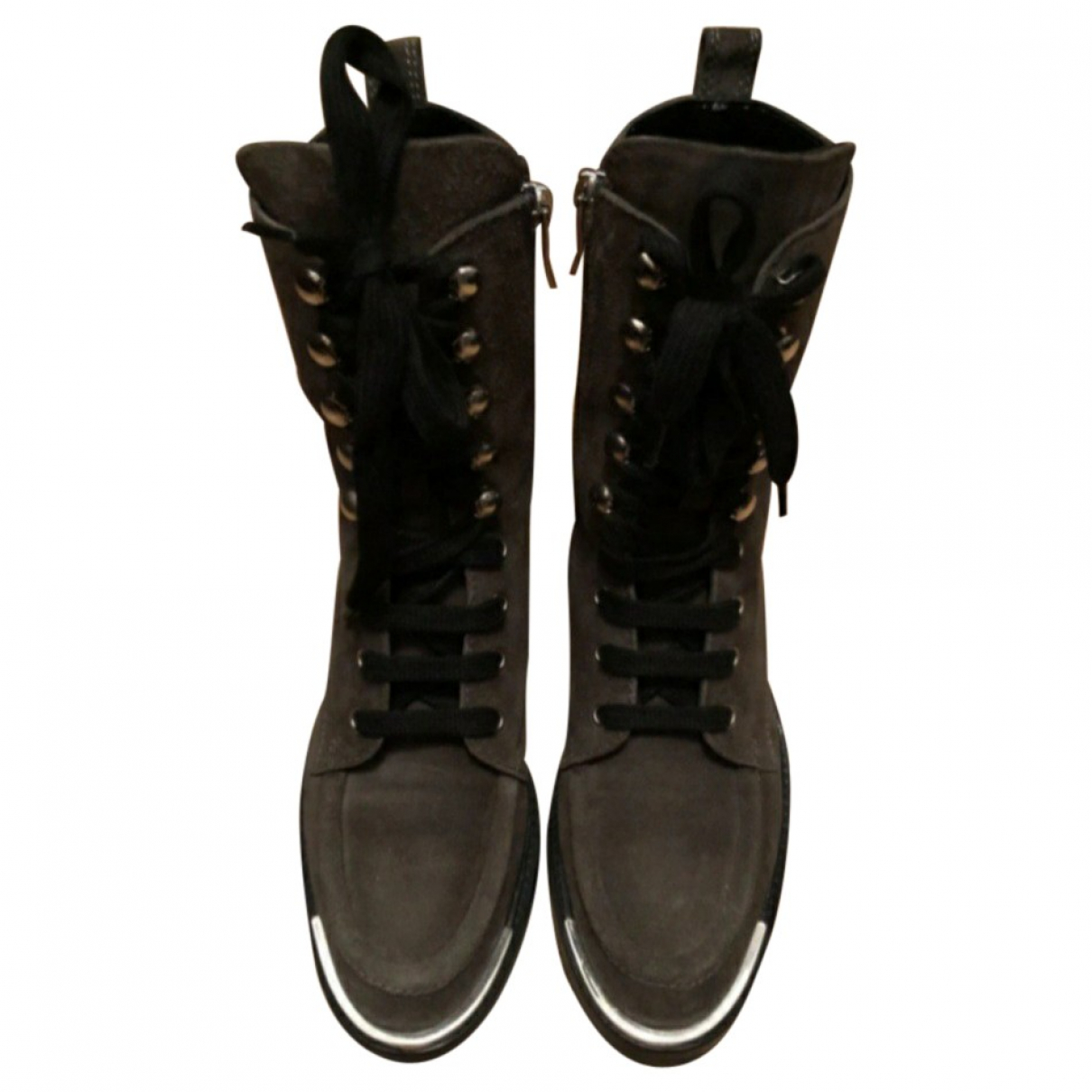 Barbara Bui \N Grey Suede Ankle boots for Women 37 EU