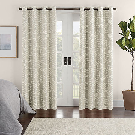 Eclipse Ambiance Geo Print Draft Stopper Energy Saving 100% Blackout Grommet-Top Single Curtain Panel, One Size , White