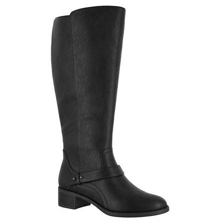 Easy Street Womens Jewel Plus Block Heel Zip Riding Boots, 9 Wide, Black