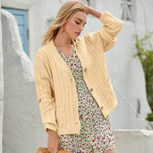 Button Front Double Pocket Cardigan