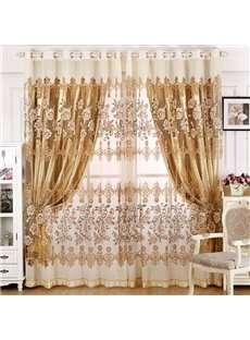 Decoration and Blackout Curtains Drapes European Style Peony and Damask Shading Cloth and Sheer Curtains Set No Pilling No Fading No off-lining