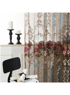 European Vintage Embroidered Rose 2 Panels Blackout Custom Sheer Curtains