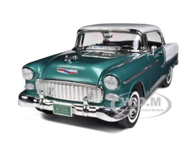 1955 Chevrolet Bel Air Hard Top Metallic Green and White 1/18 Diecast Model Car by Motormax