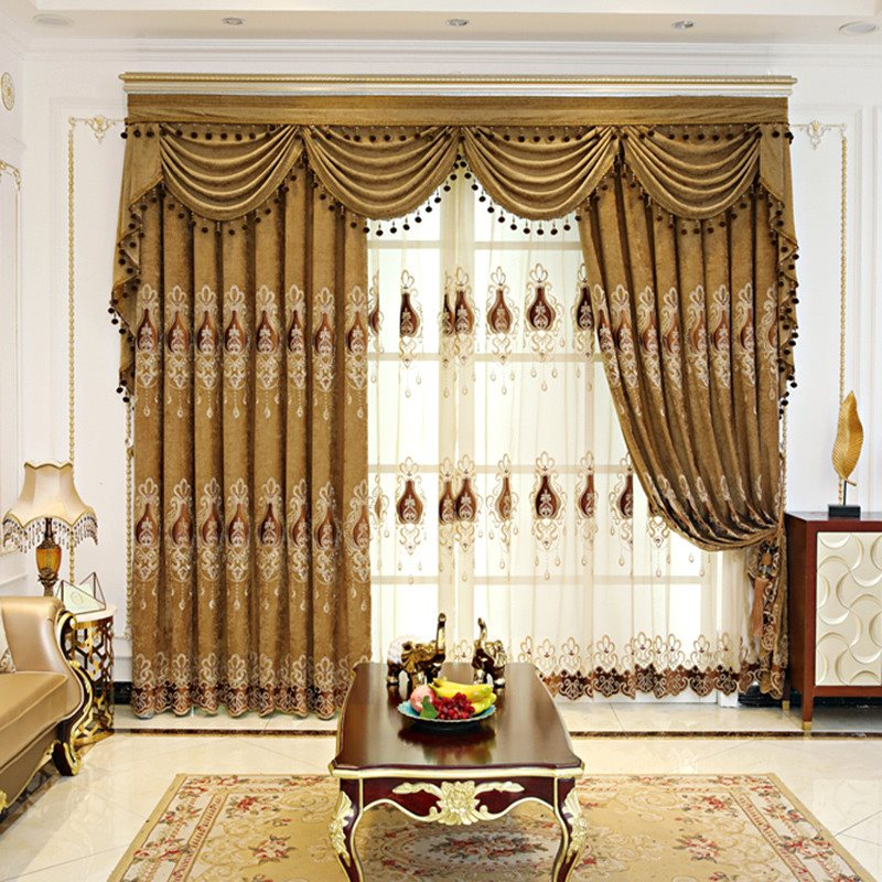 European Style Elegant High Quality 3 Colors Decorative Sheer Curtains