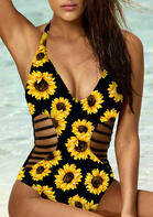 Sunflower Hollow Out One-Piece Swimsuit - Black