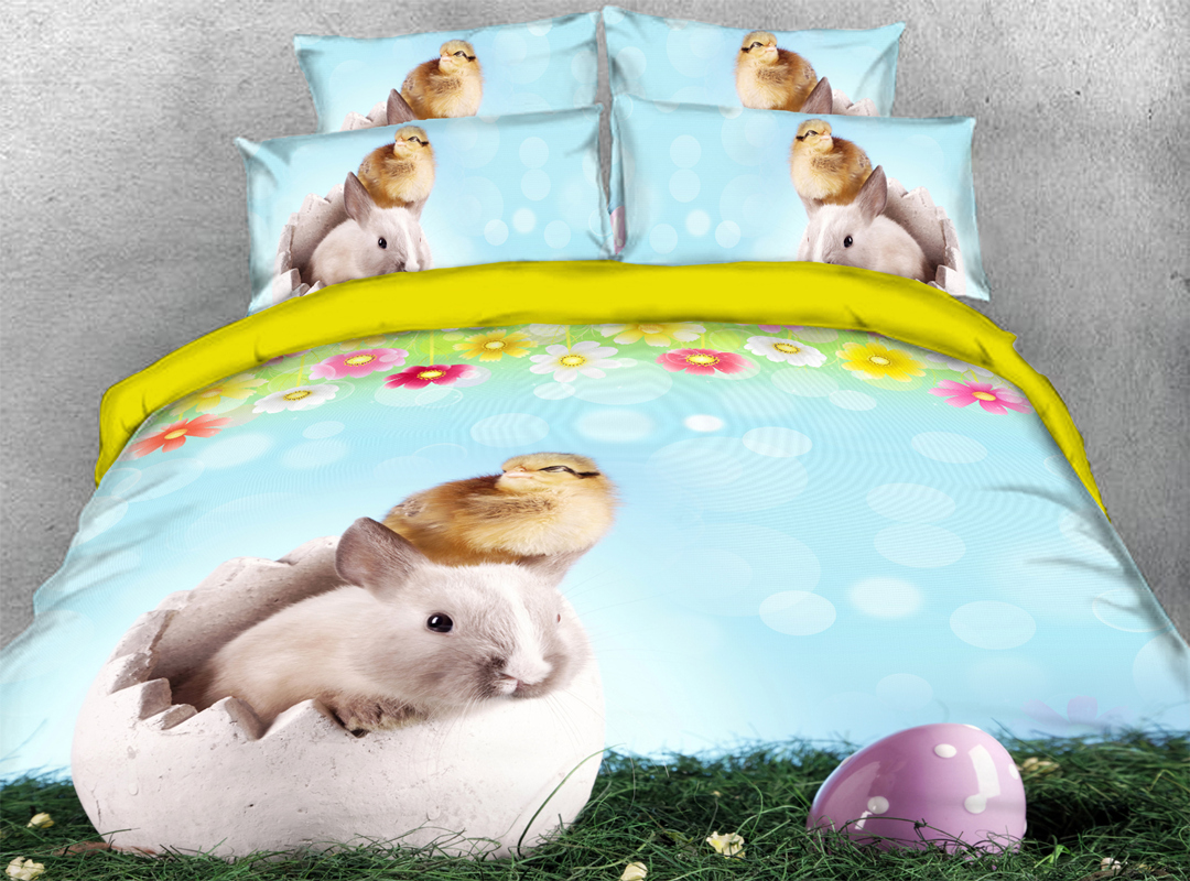 Easter Egg and Rabbits 4pcs 3D Animal Zipper Durable Bedding Sets No-fading Soft Reactive Printing Duvet Cover with Ties